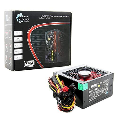 ACE Bloc d'alimentation noir 700 W BR avec ventilateur rouge de 12 cm et PFC