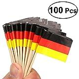 Tinksky Deutsche Flagge Zahnstocher Cocktail-Stick Nationale hölzerne Flagge Cupcake Toppers Zahnstocher für National Day Food Dekoration, Packung von 100