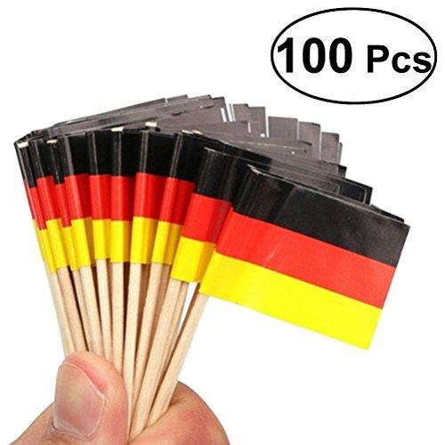 LUOEM – Einsteckfahnen, Deutschlandflagge, Flaggen-Zahnstocher für Partys, kleine Geschenke, Geburtstage, Hochzeiten, Babypartys, Feiertage, Cupcakes, Zahnstocher, 100 Stück