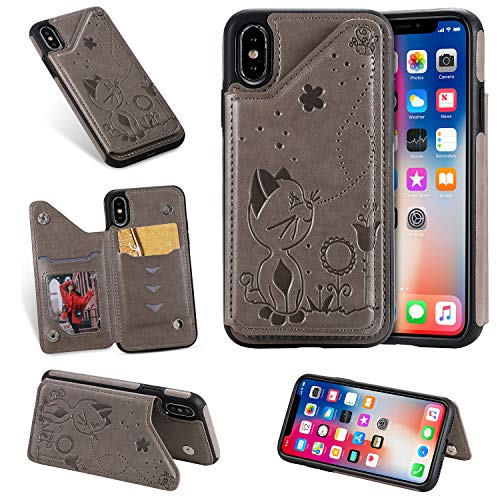 Nadoli Back Cover for iPhone Xs/X 5.8',Embossing Cat Bee Flower Slim PU Leather Wallet Design Magnetic Clasp Card Slots Kickstand Protective Siicone Soft Skin Case
