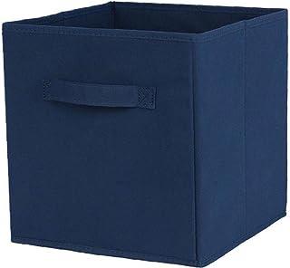 Tissu panier Bin Boîtes de rangement de rangement pliable cubes Organisateur avec poignées bleues, tiroir de rangement Unités