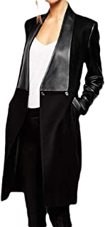 Women's Lapel Warm Long Faux Fur Leather Patchwork with Pocket Trench Coat Outwear Overcoats