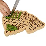 "Game of Thrones House Stark Bamboo Cutting Board - Stark Dire Wolf Sigil Motif - 10"" x 7.5"""