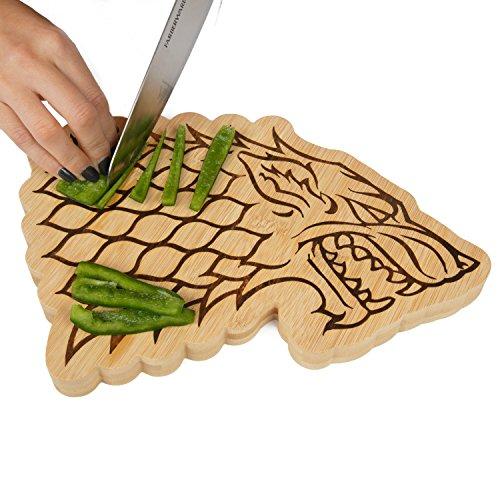 "Game of Thrones House Stark Bamboo Cutting Board - Stark Dire Wolf Sigil Motif - 10"" x 7.5"""