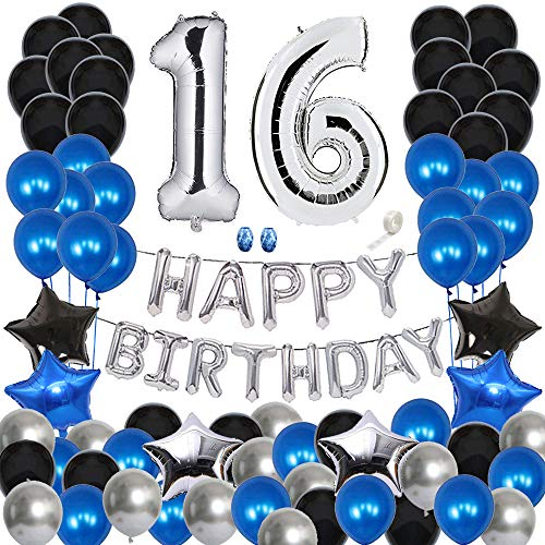 Huture 16 Birthday Party Supplies Silver Number 16 Foil Balloon Happy Birthday Banner Kit 16th Birthday Decoration Black Blue Silver Latex Balloon Foil Star Balloon Great Gift for Girls Boys Birthday