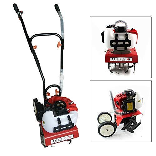 Gartenfräse Benzin Motorhacke Bodenfräse Bodenhacke Gartengeräte mit 2 Rädern 52cc 2-Takt Motor Kultivator, Für DIY oder Professionelle Landschaftsgärtner