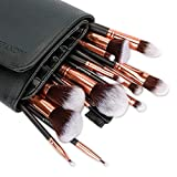 Refand Makeup Brushes, 18pcs Face Brushes Cosmetics Kabuki Foundation Powder Concealers Blending Eye Shadows Professional Make Brushes Kit with Pu Leather Storage Bag Rose Gold Black