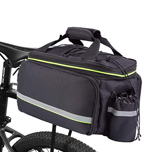SHINYEVER Alforja para bicicleta, impermeable, portátil, plegable, para el asiento trasero de la bicicleta, bolsa de almacenamiento de equipaje con cubierta de lluvia de hasta 32 l