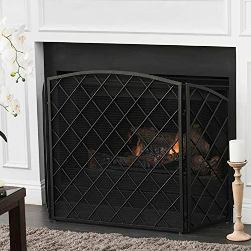 Fireplace Screens Foldable 3 Panel Fireplace Screen, American Style Safety Spark Guard Baby Fence with Sturdy Black Metal Mesh Cover, 65 × 30 × 83 cm