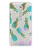 BAISRKE Nokia 6.1 Case, Nokia 6 2018 Case, Slim Shockproof Clear Floral Pattern Soft Flexible TPU Back Cover for Nokia 6.1 2018 [Color Pineapples]