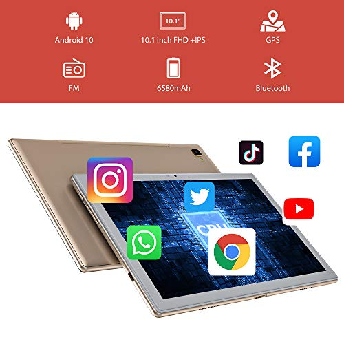 Blackview Tab8 Tablette Tactile 8 Cœurs 4Go RAM + 64Go ROM, Full HD 1920×1200P, 10.1 Pouces Double 4G LTE + 5G WiFi Android 10 Tablette PC, 13.0MP + 5.0MP Double Caméra, Bluetooth 5.0, OTG, 6580mAh