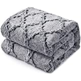 KAWAHOME Faux Fur Blanket Winter Super Soft Cozy Warm Fluffy Plush Blanket 430GSM Quatrefoil Pattern for Couch Sofa Bed, King Size 108' X 90' (Dark Grey)