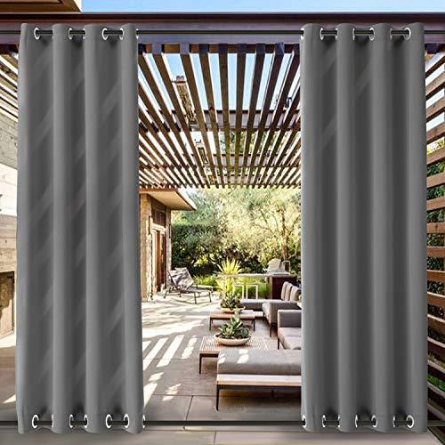ChadMade Winddicht Outdoor Vorhänge mit Auf Unter Ösen Grau 381B x 214H cm, Wasserdicht Und Mehltau Resistente Patio Cabana Porch Gazebo Vorhang (1 Panel)