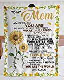 Personalized to My Mom Sunflower Sherpa Fleece Blanket from Daughter You are My Sunshine Great Customized Gifts Mother's Day Birthday Christmas Thanksgiving Wedding Anniversary