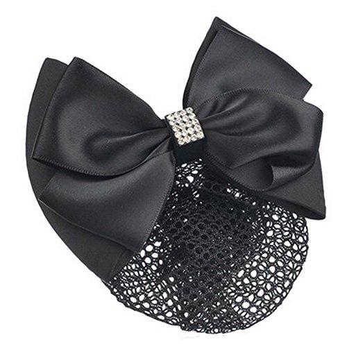 Mesdames Bow Tie Spring clip Barrette Barrette Pin Snood Cheveux net, Noir