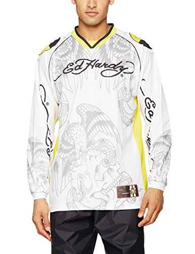Ed Hardy Crash Test Camiseta de Manga Larga, Multicolor, L