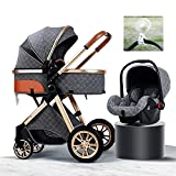 Luxury 3 In 1 Baby Stroller Travel System, Baby Stroller Fan Flexible Tripod Fixed To The Fan Foldable Pram Baby Carriage With Stroller Organizer Pushchair With Mobile Phone Holder (Color : E)