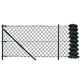 [pro.tec] Set completo valla cerca - malla de alambre de acero galvanizado ( 80cm x 15m) verde - incluye postes, puntales, anclajes y soporte
