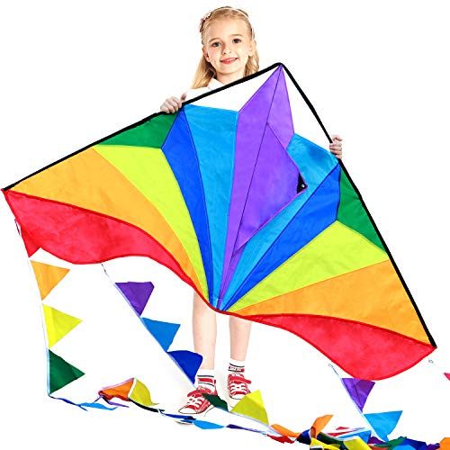 HONBO Large Delta Kite for Kids & Adults,Extremely Easy to Fly Kite for Beach Trip,String Line Included,with Colorful Colors Tail ,Perfect for Beginners,