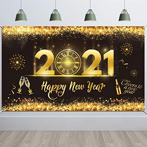 HOWAF Decoración de Fiesta de Nochevieja de Oro Negro,  Póster de Tela Cartel Extra Grande para año Nuevo Fondo de Foto Props Pancarta de Fondo Pancarta de Fiesta de Nochevieja 2021