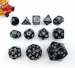 Complete Polyhedral Dice Set of 12pcs D3-D60 60 Sides and 50 Sides RPG Dice Set Opaque Black D3 D4 D6 D8 D10 D% D12 D20 D24 D30 D50 D60