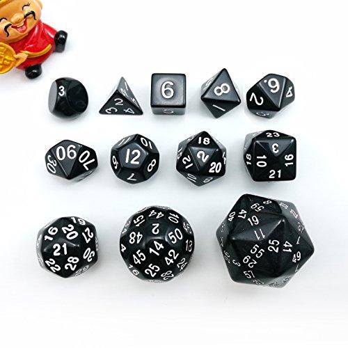 Bescon Vollständige Polygonal Polyedrische Würfel Set 12pcs D3-D60, Dungeons und Dragons Würfel Set D3 D4 D6 D8 D10 D% D12 D20 D24 D30 D50 D60 Schwarz Farbe