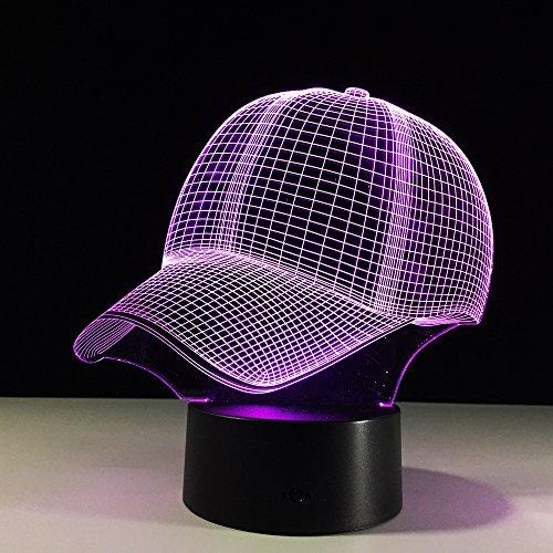 Gorra de béisbol 3DNight Lights Touch USB Table Lampara Lampe Baby Sleeping Night Light...