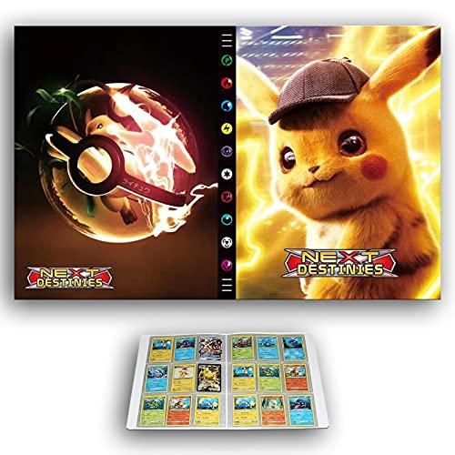 Raccoglitore di carte compatibile con le carte Pokemon, album di carte 9 tasche, porta carte di migliore protezione carte collezionabili, detective Pikachu