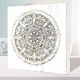 Cuadro Mandala de Pared Calada, Fabricada artesanalmente en España- Mandala 3D- Pintada a Mano- Modelo Mosaico 226 (Blanco Envejecido, 30x30)