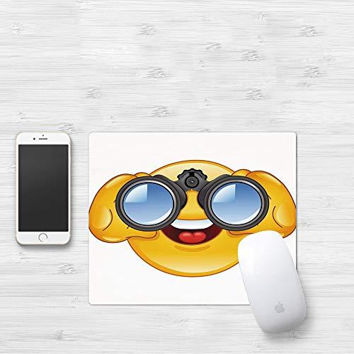 Mauspad mit genähten Kanten,Emoji, Smiley-Gesicht mit einer Teleskop-Fernglas-Brille, die draußen Cartoon,rutschfeste Gummi-Basis-Mousepad, Gaming und Office mauspad für Laptop, Computer & PC320x250mm