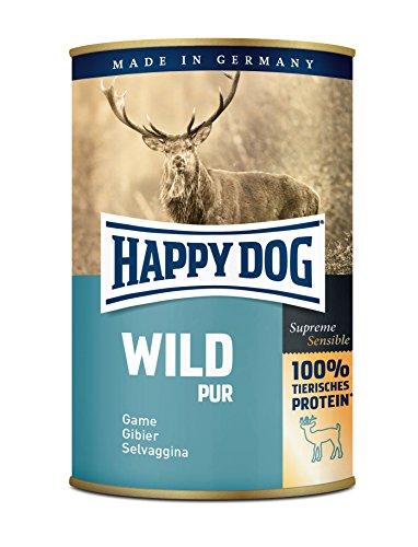 Happy Dog Wet Dog Food Puro stagnato Game, 400g, Venison, Confezione da 6