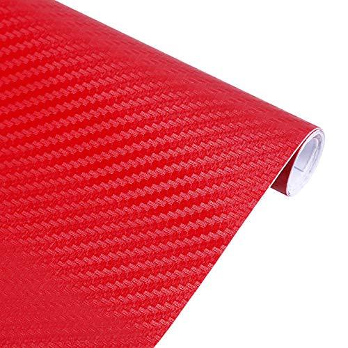 DWWSP 3D-Carbon-Faser-Vinylfilm-Auto-Aufkleber wasserdicht Auto-Styling-Verpackungs-Auto Fahrzeug-Pflege Auto-Zubehör Motorrad # 2, Farbe Name: Rot, Größe: 10CMx127CM (Color : Red, Size : 10CMx127CM)