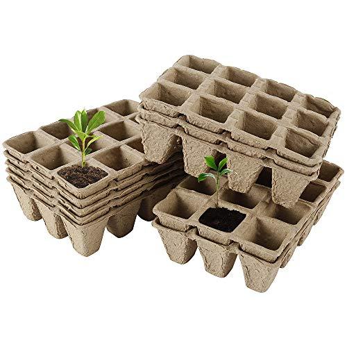 Anzuchttöpfe Biologisch Abbaubar,Anzuchtschalen setzling,Wachstum Töpfe Blumentöpfe,Pflanze Samen Starter Tablett Kit, von 12 Gittern zum Pflanzen von Pflanzen, Obst und Gemüse (17 Stück)