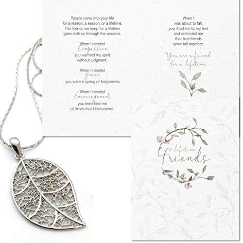 Smiling Wisdom - Platinum Leaf Friendship Necklace Gift Set - Reason Season Lifetime Friend Greeting Card - Long Sweater Leaf Necklace - For Her Best Friend - Platinum Plated