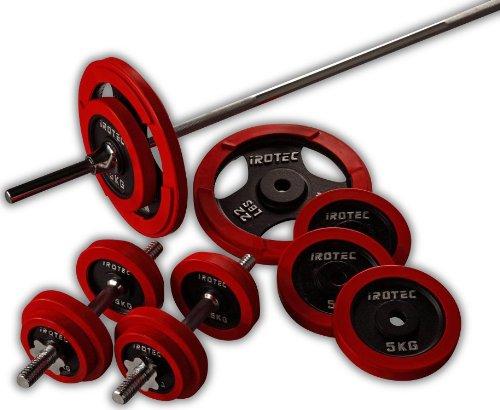 IROTEC (アイロテック) ラバー バーベル ダンベル 70KGセット 安心のラバーリング!床に置く時も静かで安全!! (バーベルシャフト長さワイドグリップ180cm)