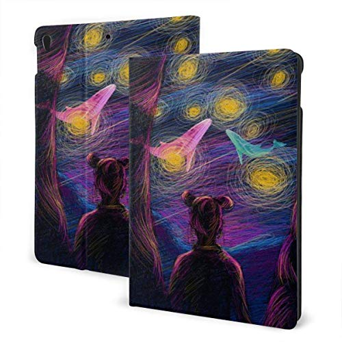 liukaidsfs Ipad case Healing Girl Back Dreaming Starry Sky Slim Lightweight Smart Shell Stand Cover Case for iPad 7th 10.2 inch