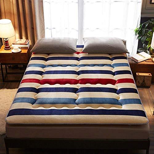 AICKERT Materasso Letto futon Matrimoniale e Singolo Pieghevole e Arrotolabile. materassi da Terra 90 * 200cm~200 * 220cm futon Trapuntato salvaspazio | Bed Ground,E,180 * 200cm