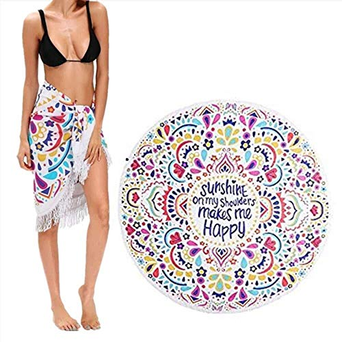 ETH Ronde Strandtapijt Hippie/Boho Mandala, Gooi Indiase Deken Strand & Reizen Handdoek Tafelkleed Meditatie Yoga Mat Muur Opknoping Zwembad Sjaal Roundie Camping duurzaam