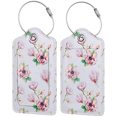 watercolor seamless with magnolia flowers and leaves watercolour decoration pattern designLuggage Tags Suitcase Labels Bag Travel Accessories Set of 2