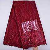 3 Yards African Lace Fabric Nigerian French Beaded Lace Net Fabric Embroidered Fabric for Wedding Party Dress Corded Guipure K7 (Wine)