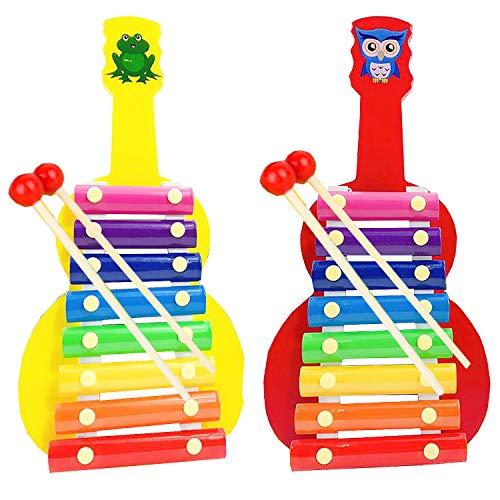 Xilofono Infantil Liuer 2PCS Xilófono Madera con palos Color Instrumentos Musicales Infantiles Cumpleaños Regalos para Niños Bebé (Forma de Guitarra)