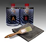 Resin Pro – Kit de reparación de resina + tejido de fibra de carbono 1 m x 1 m – rápido, sencillo y duradero, material de refuerzo, resina epoxi para laminación (500 g + 275 g) – 775 g