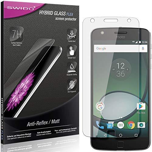 SWIDO Panzerglas Schutzfolie kompatibel mit Lenovo Moto Z Play Bildschirmschutz Folie & Glas = biegsames HYBRIDGLAS, splitterfrei, MATT, Anti-Reflex - entspiegelnd
