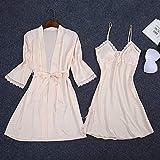 SDCVRE Conjunto de Pijama Mujeres 2PC Bata Bata de baño Correa Top Kimono Conjuntos de Pijamas Ropa de Dormir Dama Ropa de casa Traje de camisón Camisas de Dormir M-XXL, Champagne, Set, L