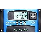 Y&H 100A MPPT ソーラーチャージャーコントローラー12V/24V LCD 太陽光パネルチャージコントローラー、デュアル USB付き ソーラーパネル バッテリレギュレータ 充放電圧調整 スイッチ 過負荷保護