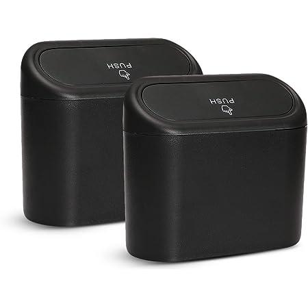 Xgzhsa Kleiner Auto Mülleimer Auto Aufbewahrungsbox 2 Teiliger Kleiner Wasserdichter Auto Mülleimer Mit Deckel Tragbare Hängende Aufbewahrungsbox Für Autobüro Schwarz Auto