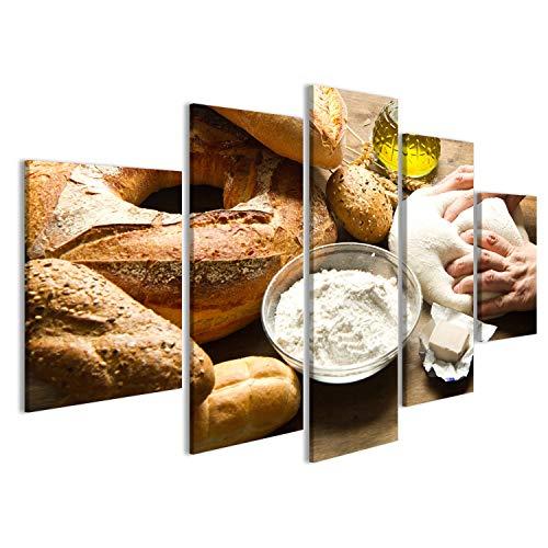islandburner Quadri Moderni Bread Bakery nella Farina Primo Piano impastare la Pasta sul Tavolo Stampa su Tela - Quadro x poltrone Salotto Cucina mobili Ufficio casa - Fotografica Formato XXL DDA