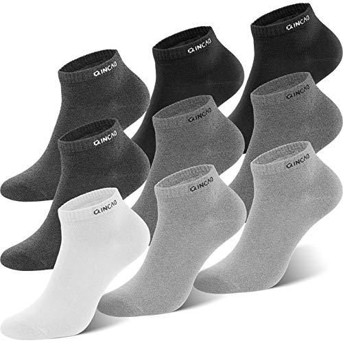 QINCAO Sneaker Socken Herren Damen 9 paar Sportsocken Baumwolle Kurze Halbsocken Unisex Socken(Schwarz x2/ Grau x2/ Grau x2/ Grau x2/ Weiß x1, 43-46)