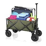 Chariot pliable Campart HC-0915 – Capacité de 70 kg – Pneus gonflables – Vert