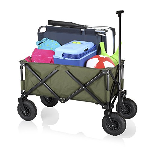 Purchase Campart Foldable Garden Trolley Frejus, Green, Pneumatic Wheels, 70kg Capacity, Securable Drawbar